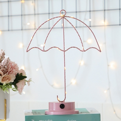 Iron Wire Umbrella Small Night Lamp Macaron Pink Battery Powered LED Table Light