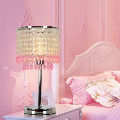 Modernist Cylinder Table Light 1 Bulb Clear Crystal Night Lighting in Red/Pink/Green for Bedroom