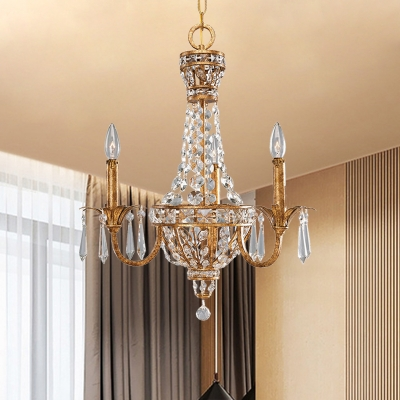 Rust Basket Shaped Chandelier Lamp Traditional Crystal 3-Light Dining Room Hanging Light Kit