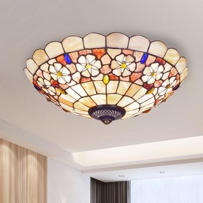 Scalloped Shell Ceiling Flush Light Tiffany 3/4 Heads Beige Flush Mount Recessed Lighting, 12