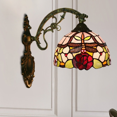 Stained Glass Bronze Wall Mount Light Dome 1-Light Tiffany Sconce Lighting with Dragonfly and Flower Pattern