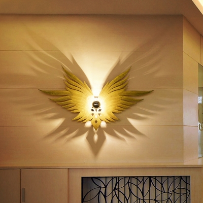 Wing Shaped Sconce Lighting Nordic Wood 1-Light Corridor Wall Mount Lamp Fixture in Gold/Beige/Coffee