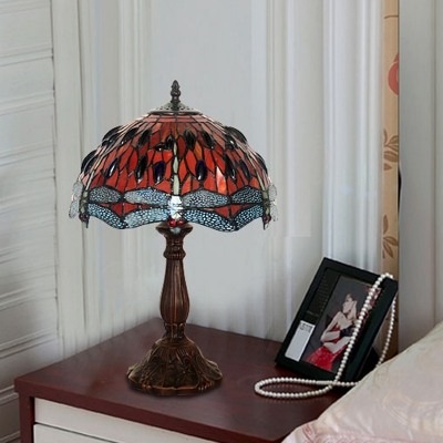 1 Bulb Bedroom Table Lighting Tiffany Bronze Dragonfly Patterned Night Lamp with Dome Cut Glass Shade
