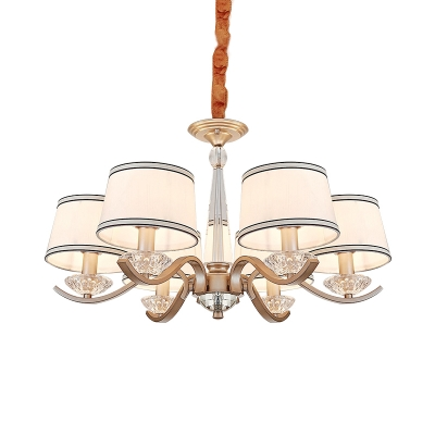 6-Bulb Chandelier Modernism Bedroom Hanging Light Kit with Stripe-Trim Round Fabric Shade in Gold