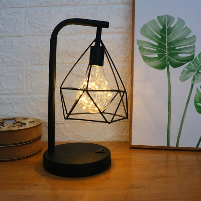 Bedroom LED Nightstand Light Modern Black Table Lamp with Diamond Iron Cage in Warm Light/Fourth Gear