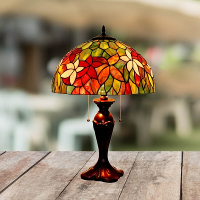Bronze Finish Bowl Night Lighting Victorian 2-Light Stained Art Glass Clematis Patterned Nightstand Lamp with Pull Chain