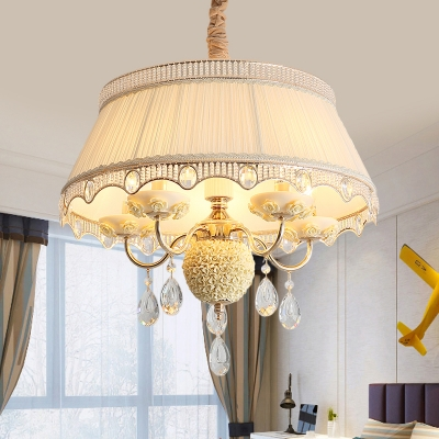 Ceramic Candle Chandelier Pastoral 5 Bulbs Bedroom Pendant with Fabric Shade and Crystal in Pink/Blue/Light Beige
