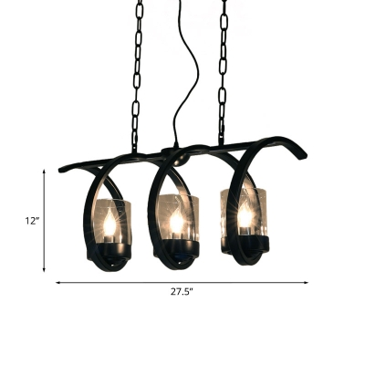 Coiled Iron Hanging Island Light Industrial 3/5-Head Dining Table Pendant in Black with Inner Cup Clear Glass Shade