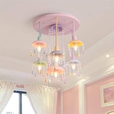 Crystal Cascade Ceiling Mount Chandelier 7 Bulbs Pink Semi Flush Light with Scalloped Saucer Shade