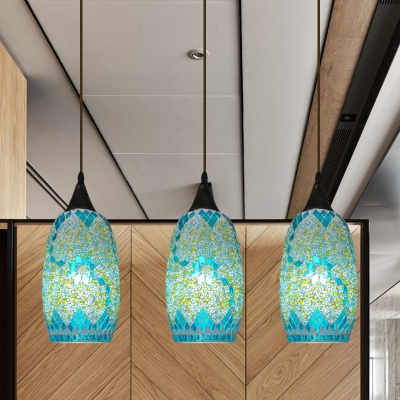 Elliptical Multi-Light Pendant 3-Light Blue Stained Glass Tiffany Drop Lamp with Linear Canopy