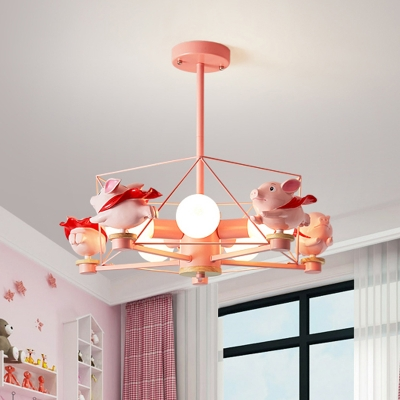 Horse/Flying Pig Shape Chandelier Light Cartoon Resin 5-Head Pink Finish Ceiling Hang Fixture with Pentagon Cage
