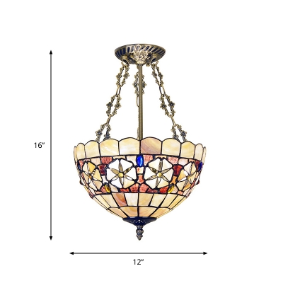 Inverted Bowl Semi Flush Chandelier Tiffany Shell 3-Light Brass Ceiling Mounted Lamp