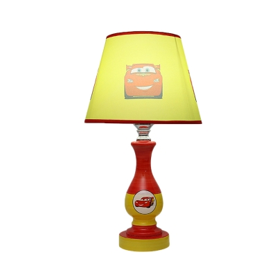 Tapered Shade Child Bedside Night Lamp Star Car Print Fabric Single Cartoon Table Light In Blue Yellow Beautifulhalo Com