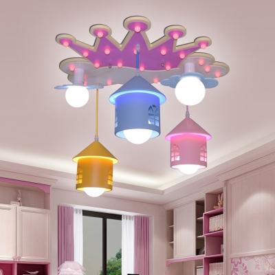 Wood Crown Shaped Semi Flush Light Cartoon 5 Heads Pink Flush Mounted Lamp with House Iron Shade