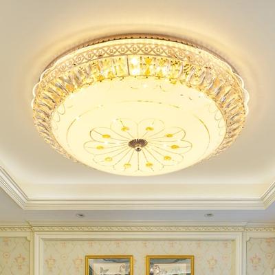 Gold LED Flush Mount Ceiling Light Simplicity Crystal Blossom Patterned Bowl Flushmount Lighting for Bedroom