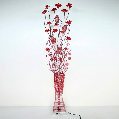 LED Standing Floor Light Art Deco Lotus Aluminum Wire Vase Floor Lamp in Red for Living Room