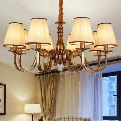Metallic Brass Pendant Gooseneck Arm 5/8-Light Vintage Chandelier Lighting with Barrel Fabric Shade