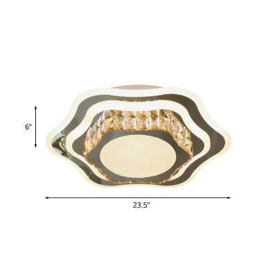 Modern 3-Layer Flower Flush Light Crystal Embedded LED Ceiling Lamp in Stainless Steel