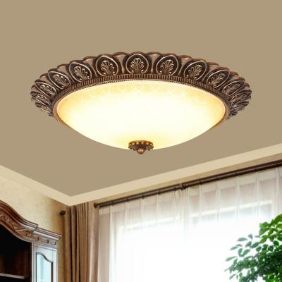 Textured Glass Domed Ceiling Flush Countryside LED Living Room Flushmount Light in Gold
