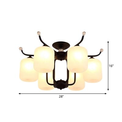 6/8-Light Opal Glass Semi Mount Lighting Traditional Black Finish Cylinder Parlour Flush Lamp Fixture