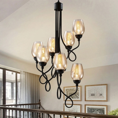Black 5/7 Bulbs Chandelier Light Traditional Iron Swirling Arm Hanging Lamp Kit with Cup Clear Glass Shade
