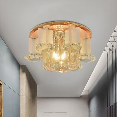 Clear Crystal Geometric Ceiling Flush Mount Modernism LED Tan Flushmount Lighting