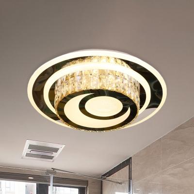Crystal-Encrusted LED Flushmount Minimalist Stainless Steel Moon Bedroom Flush Mount Ceiling Fixture