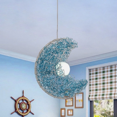 Moon Shaped Metal Wire Pendant Light Kit Nordic 1 Head Blue Hanging Ceiling Lamp