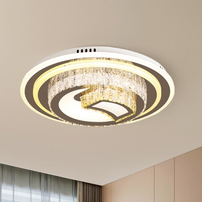 Nickel Finish LED Flush Mount Modern Style Crystal Tiered Round Ceiling Light Fixture