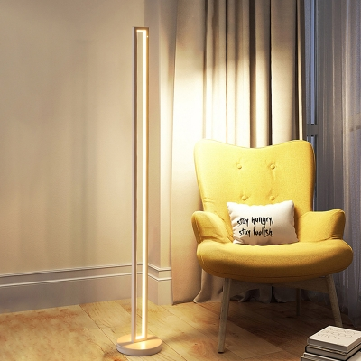 Rectangle Frame Standing Floor Lamp Minimalist Metal LED White/Black Floor Light in White/Warm Light