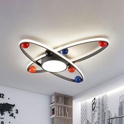 Starry Sky Kids Room Flush Lighting Acrylic LED Nordic Flush Mounted Ceiling Lamp in Grey