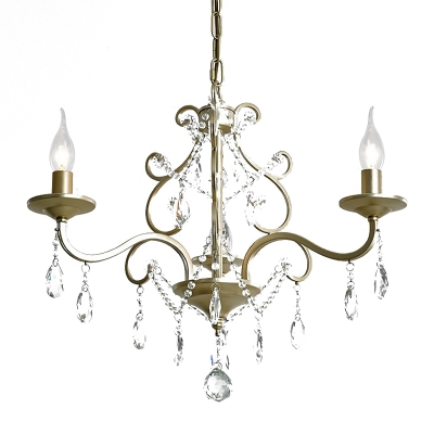 3-Head Candle Style Chandelier Rustic Gold Metal Hanging Lamp with Crystal Drops