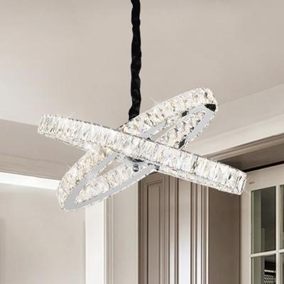 Stainless-Steel Crossing Ring Pendulum Lamp Minimalist Crystal Block LED Ceiling Chandelier