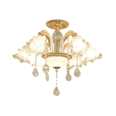 6-Bulb Ceiling Mount Chandelier Traditional Flower Clear Glass Semi Flush Mount with Cut K9 Crystal in Gold