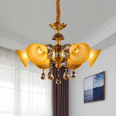 6 Bulbs Hanging Light Fixture Mid Century Bell Yellow Glass Chandelier Lamp in Brass