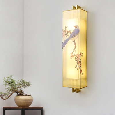 Asian LED Wall Mounted Lamp Blue Magpie Drawing Wall Mural Lighting with Fabric Shade