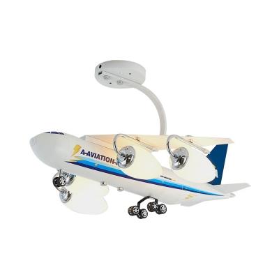 Blue Aircraft Shape Semi Flush Lamp Cartoon 4 Lights Metal Flush Ceiling Fixture with Bullet Opal Glass Shade