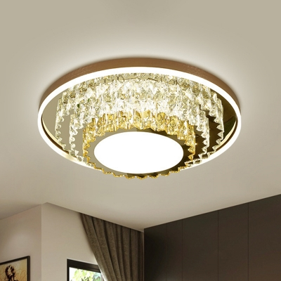 Tiered Tapered Crystal Ceiling Lamp Contemporary Bedroom LED Flushmount in Stainless Steel