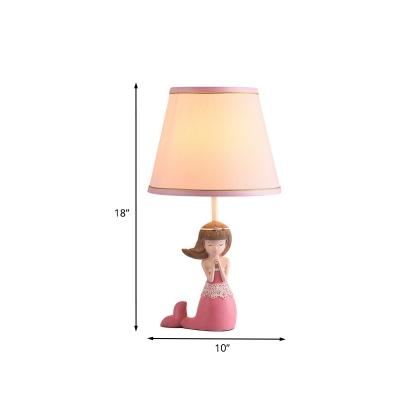 1 Light Bedside Table Light Cartoon Pink Girl Nightstand Lamp with Barrel Fabric Shade