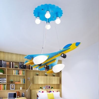 Aircraft Wood Ceiling Chandelier Cartoon 6-Head Blue and Yellow Pendulum Light for Kids Room