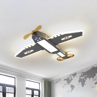 Airplane Boys Bedroom Flush Lighting Metallic LED Cartoon Flush Mount Fixture in Grey
