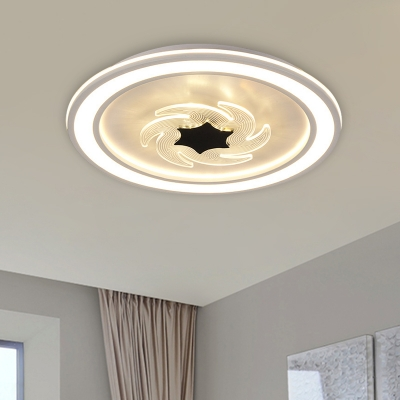 Black-White Circle Flushmount Light Kids LED Acrylic Ceiling Mounted Fixture with Windmill Detail