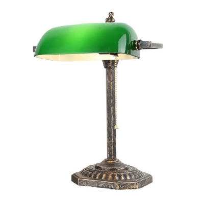 Green Glass Semi-Cylinder Banker Lamp Vintage 1-Light Studio Table Light with Pull Chain in Bronze