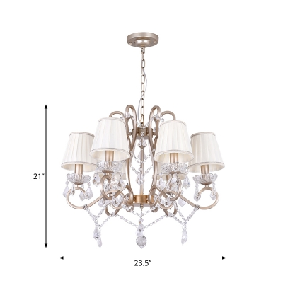 Pleated Fabric Cone Shade Chandelier Lamp Country Style 6 Heads Kitchen Pendant in Brass with Crystal Strand