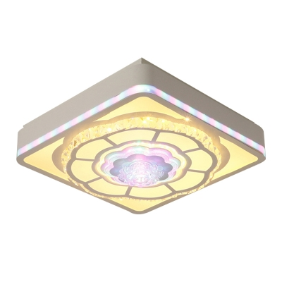 Remote Control LED Ceiling Light Simplicity Square and Flower Crystal Flushmount Lighting in White