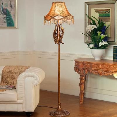 Retro Stylish Scalloped Floor Light 1 Head Peony-Print Fabric Stand Up Lamp with Fringe in Gold