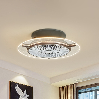 Round Bladeless Ceiling Fan Light Modern Acrylic Dining Room LED Semi Flush Mount with Grill in Gold, 22