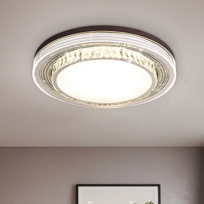 Surface Mounted LED Ceiling Light Simple Bedroom Flush Mount with 2 Layers Clear Crystal Shade