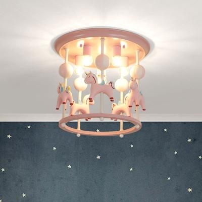 Unicorn Flush Light Fixture with Carrousel Design Cartoon Resin 6 Bulbs Blue/Pink Flush Mount