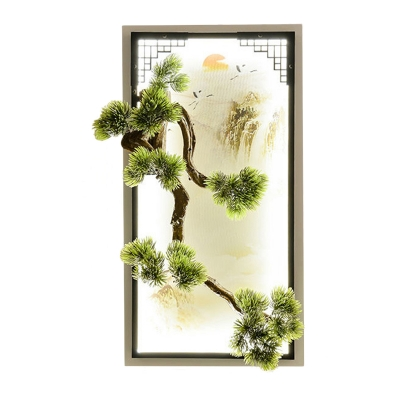 Pine Tree Resin Flush Mount Wall Sconce Chinese Green LED Wall Mounted Mural Lamp for Tearoom
